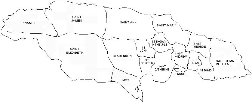 Black and white outline map of the parishes of Jamaica from 1693-1702, including Saint James, Saint Elizabeth, Saint Ann, Clarendon, Vere, St John, St Dorothy, Saint Catherine, St Thomas in the Vale, Saint Mary, Saint Andrew, Kingston, Port Royal, Saint George, St David, and Saint Thomas in the East.