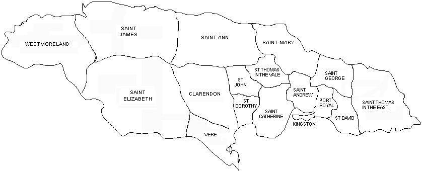 Black and white outline map of the parishes of Port Royal, from 1703-1722, including Westmoreland, Saint James, Saint Elizabeth, Saint Ann, Clarendon, Vere, St Dorothy, St John, Saint Mary, St Thomas in the Vale, Saint Catherine, Kingston, Saint Andrew, Saint George, Port Royal, Saint David, and Saint Thomas in the East.
