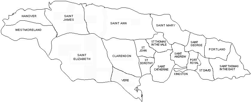 Black and white outline map of the parishes of Jamaica in 1723-1769, including Hanover, Westmoreland, Saint James, Saint Elizabeth, Saint Ann, Clarendon, Vere, St Dorothy, St John, Saint Mary, St Thomas in the Vale, Saint Catherine, Kingston, Saint Andrew, Saint George, Port Royal, St David, Portland, and Saint Thomas in the East.
