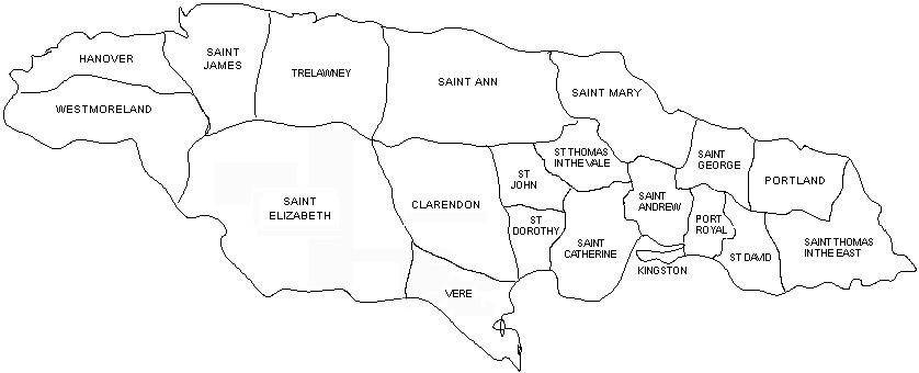 Black and white outline map of the parishes of Jamaica in 1770-1813, including Hanover, Westmoreland, Saint James, Trelawney, Saint Elizabeth, Saint Ann, Clarendon, Vere, St Dorothy, St John, Saint Mary, St Thomas in the Vale, Saint Catherine, Saint Andrew, Kingston, Port Royal, Saint George, Portland, St David, and Saint Thomas in the East.