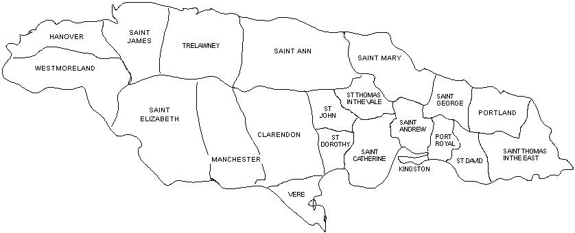 Black and white outline map of the parishes of Jamaica in 1814-1840, including Hanover, Westmoreland, Saint James, Saint Elizabeth, Trelawney, Manchester, Saint Anne, Clarendon, Vere, St Dorothy, St John, Saint Mary, St Thomas in the Vale, Saint Catherine, Saint Andrew, Kingston, Port Royal, Saint George, Portland, St David, and Saint Thomas in the East.