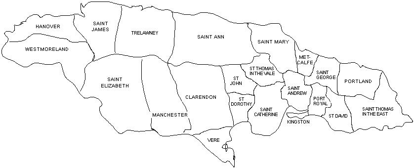 Black and white outline map of the parishes of Jamaica in 1841-1865, including Hanover, Westmoreland, Saint James, Saint Elizabeth, Trelawney, Manchester, Saint Ann, Clarendon, Vere, St Dorothy, St John, Saint Mary, St Thomas in the Vale, Saint Catherine, Metcalfe, Saint Andrew, Kingston, Port Royal, Saint George, St David, Portland, and Saint Thomas in the East.