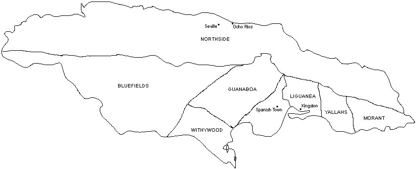 Black and white outline map of the parishes and major cities of Jamaica before 1655. Parishes included Northside, Bluefields, Withywood, Guanaboa, Liguanea, Yallahs, and Morant. Major cities included Seville, Ocho Rios, Spanish Town, and Kingston.